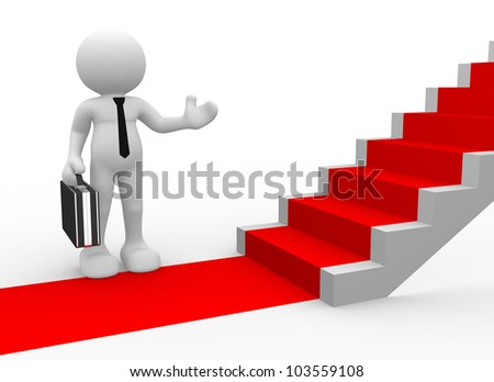 3d people - man, person with a red carpet and stairs. To Success. Businessman