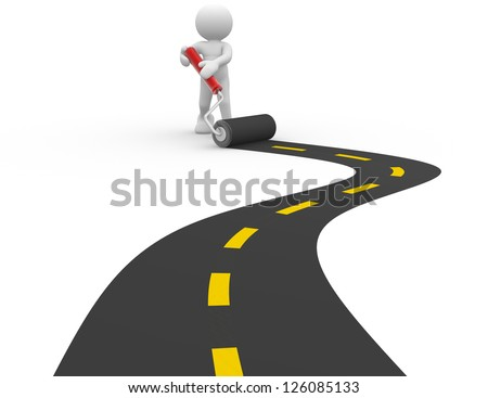 3d people - man, person  with a roller and paved road