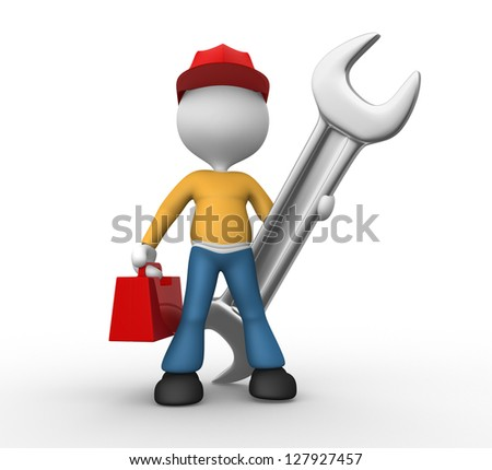 3d people - man, person with a wrench and toolbox. Mechanical engineer
