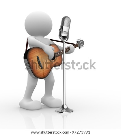 3d people - man, person with acoustic guitar and microphone. Guitarist.