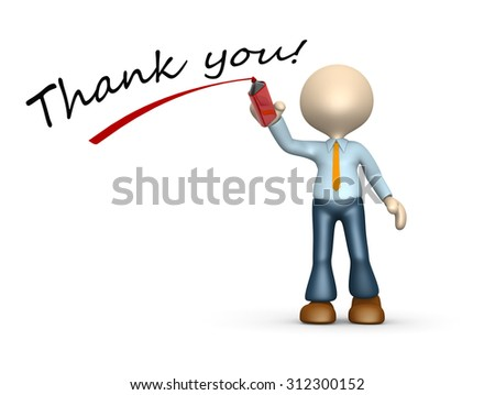 3d people - man , person with amarker. Thank you!