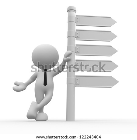3d people - man, person with blank directional sign