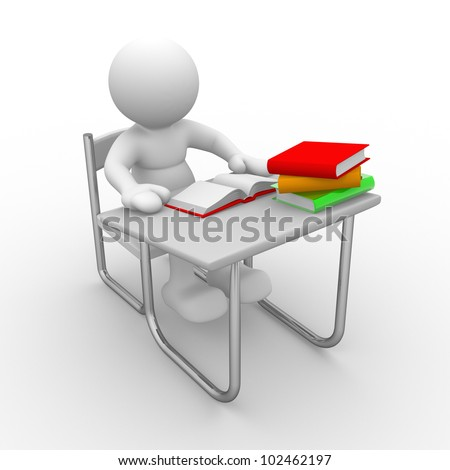 3d people - man, person with  books at  table study