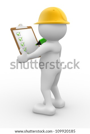 3d people - man, person with  clipboard and checklist. Builder