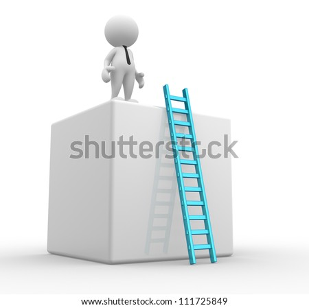 3d people - man, person with cubes  and a ladder.