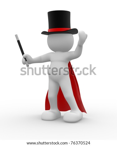 3d people - man, person with hat and wand. Magician
