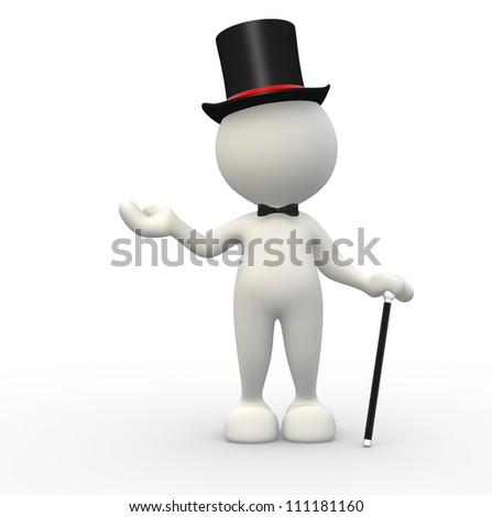 3d people - man,  person with hat and with a cane. Gentleman