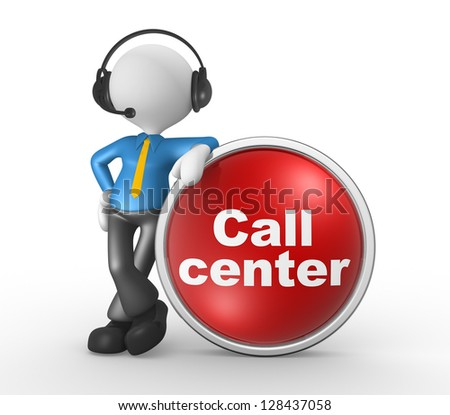 3d people - man, person with headphones and a button. Call center. Businessman