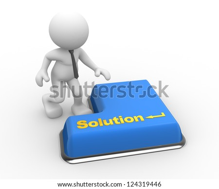 "3d people - man, person with keyboard and word ""solution&quot ; - stock photo"