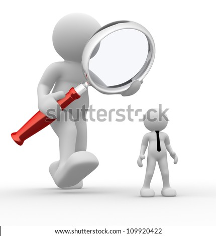 3d people - man, person with magnifying glass and businessman. Audit - stock photo