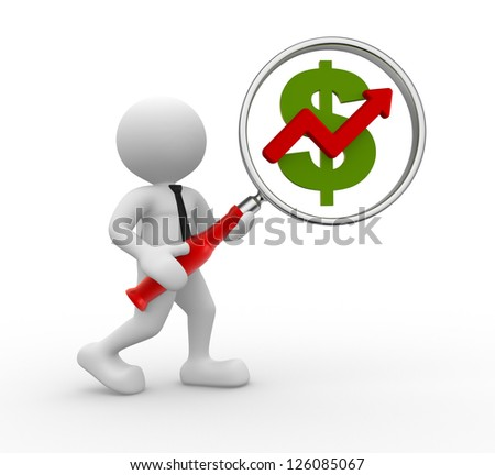 3d people - man, person  with magnifying glass and U.S. dollar. Graph financial