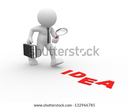 "3d people - man, person with magnifying glass and word ""idea""."
