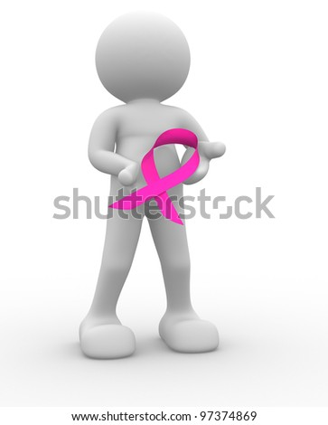 3d people - man , person with of a pink ribbon - cancer symbol