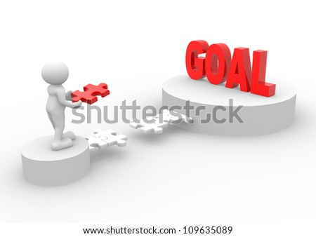"""3d people - man, person with piece of a puzzle and word """"Goal"""""""