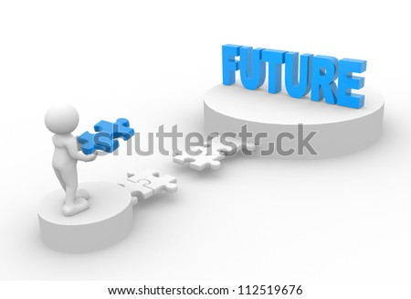 "3d people - man, person with pieces of puzzle and word ""Future""."