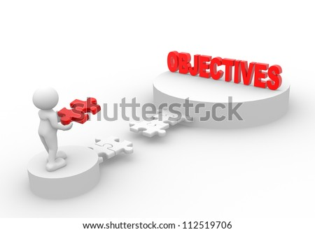 "3d people - man, person with pieces of puzzle and word  ""Objective"""