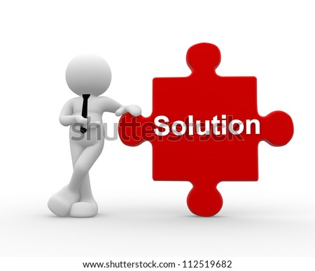 "3d people - man, person with pieces of puzzle and word ""Solution""."