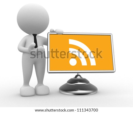 """3d people - man, person with  """" RSS """" symbol sign (blog) on a monitor"""