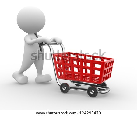 3d people - man, person with shopping cart.