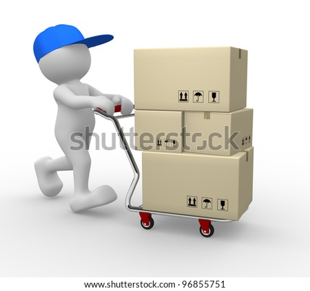 3d people - man, person  with shopping cart ( hand trucks ) and cargo boxes