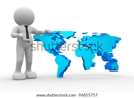 3d  people - man, person with the world map. 3d render
