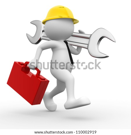 3d people - man, person with toolbox and wrench. Engineer