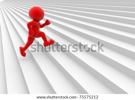 3d people  man running up on stairs - 3d render