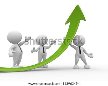 3d people - men, person and a graph arrow. Business partners. - stock photo