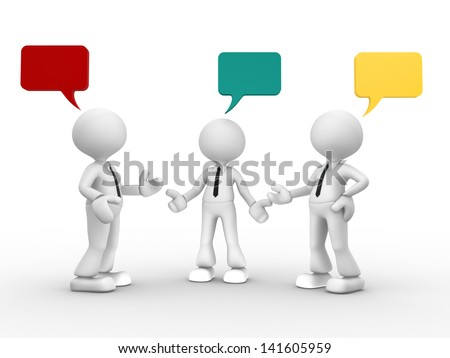 3d people - men, person and blank bubble. Three people talking