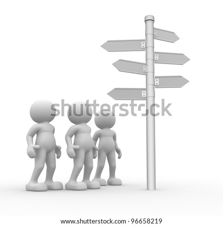 3d people - men, person and blank  road sign