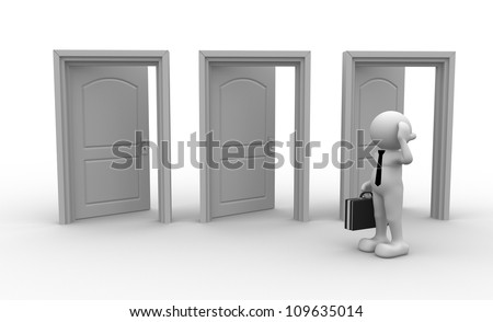 3d people - men, person and open doors. Businessman