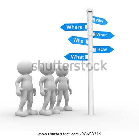3d people -men, person and road sign with various questions ( where, who, why, when, how, what )