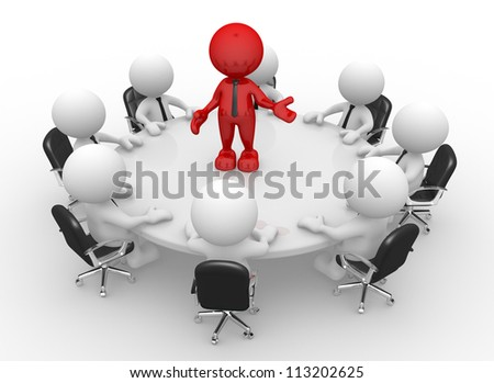 3d people - men, person at conference table. Leadership and team