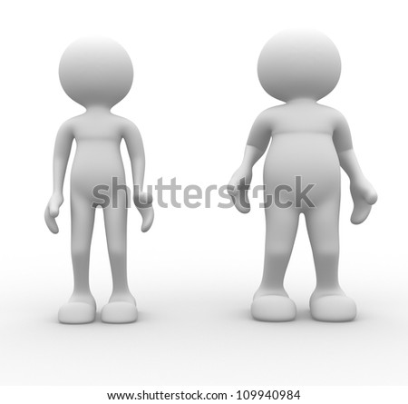 3d people - men, person. Fat and weak. Concept of diet