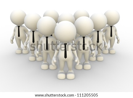 3d people - men, person in group. Leadership and team - stock photo