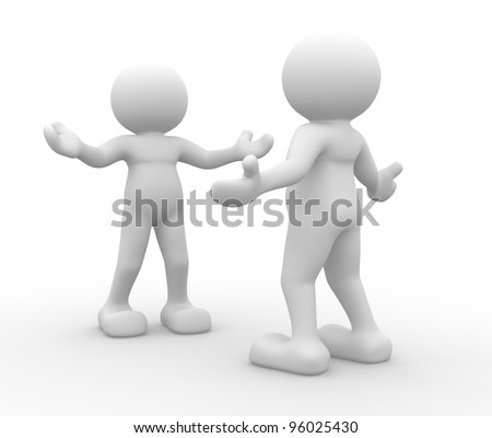 3d people - men, person inviting. Welcome - stock photo