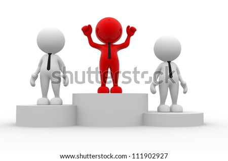 3d people - men, person on podium. The concept of business success