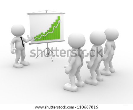 3d people - men, person presenting at a financial chart. Leadership and team.