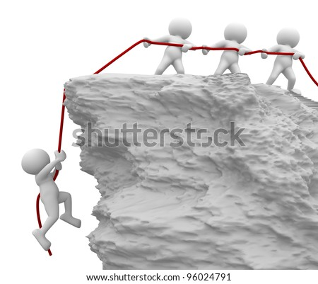 3d people - men, person pulled the rope from the cliff.  Helping, saved