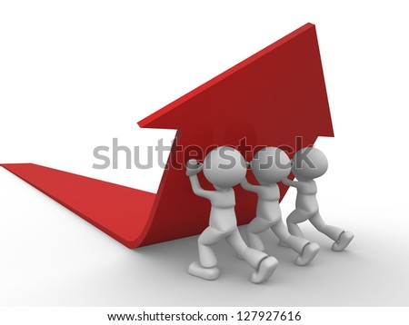 3d people - men, person pushing red arrow. Concept of solution.