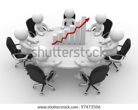 3d people - men, person sitting at a round table and financial chart - diagram