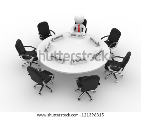 3d people - men, person to conference table. Meeting
