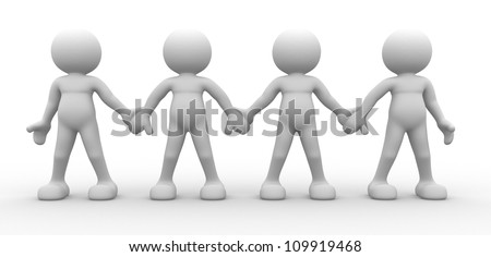 3d people - men, person together - team