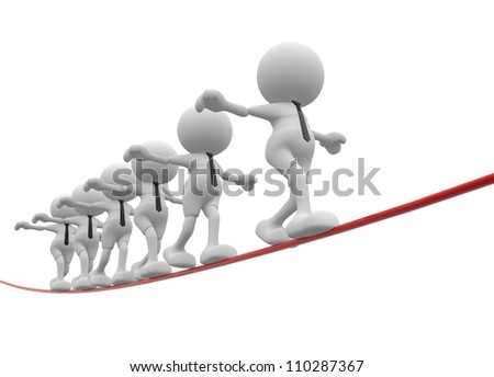 3d people - men, person walking on the wire. Aerobatics