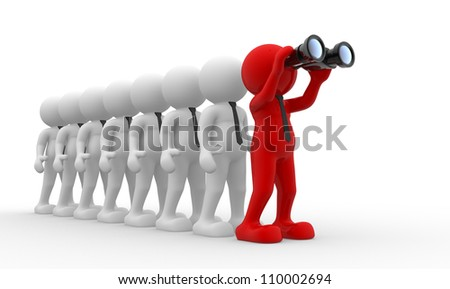 3d people - men,  person  with a binocular.  Search Concept