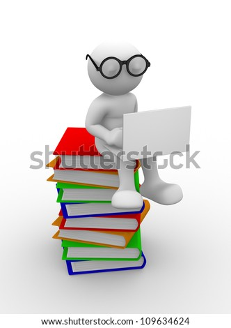 3d people - men , person with books and a laptop. Education concept