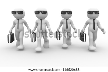 3d people - men, person with briefcase and sunglasses