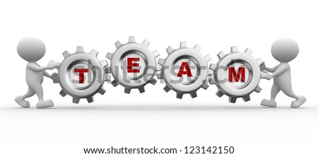 3d people - men, person with gear mechanism and word team.