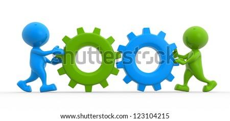 3d people - men, person with gear mechanism.  Wheels