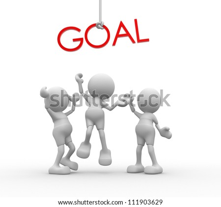 "3d people - men, person with red word ""goal"" ."